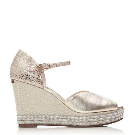 Heeled Sandals | Moda in Pelle Womens Monica Gold Leather Gold