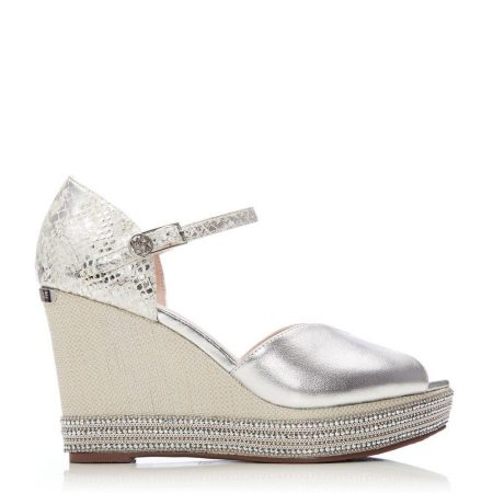 Heeled Sandals   Moda in Pelle Womens Monica Silver Leather Silver