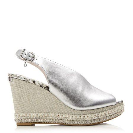 Heeled Sandals | Moda in Pelle Womens Pezzet Silver Leather Silver