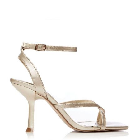 Heeled Sandals | Moda in Pelle Womens Sarusi Gold Porvair Gold