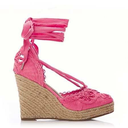 High Heel Shoes   Moda in Pelle Womens Garnet Coral Textile Coral
