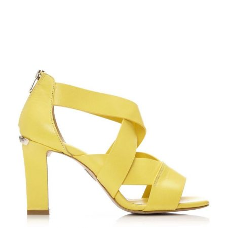 High Heel Shoes   Moda in Pelle Womens Missa Yellow Leather Yellow