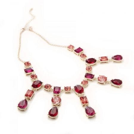 Jewellery | Moda in Pelle Womens Meloninecklace Red Pink Jewelled Red