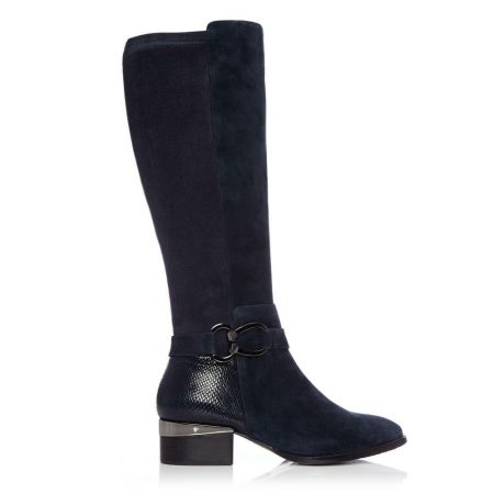 Knee High Boots   Moda in Pelle Womens Tatyanna Navy Suede Navy