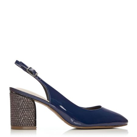 Mid Heel Shoes | Moda in Pelle Womens Chinelle Navy Patent Leather Navy