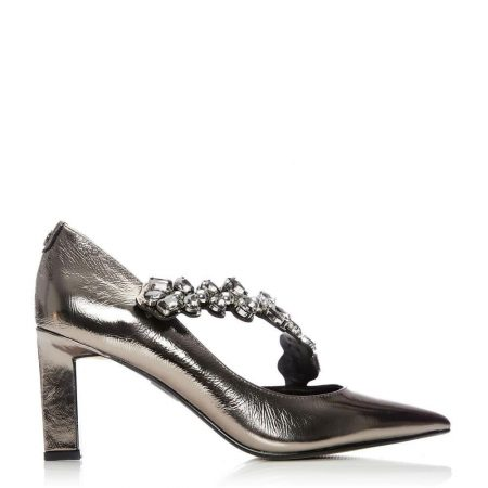 Mid Heel Shoes | Moda in Pelle Womens Cillania Pewter Leather Pewter