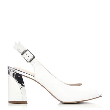 Mid Heel Shoes   Moda in Pelle Womens Cronel White Leather White