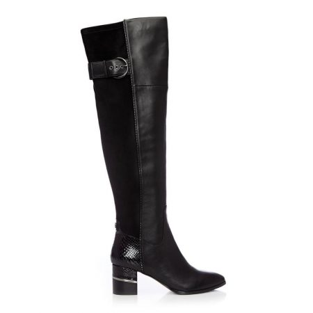 Over The Knee Boots | Moda in Pelle Womens Violette Black Leather Black