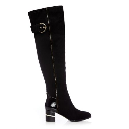 Over The Knee Boots | Moda in Pelle Womens Violette Black Suede Black