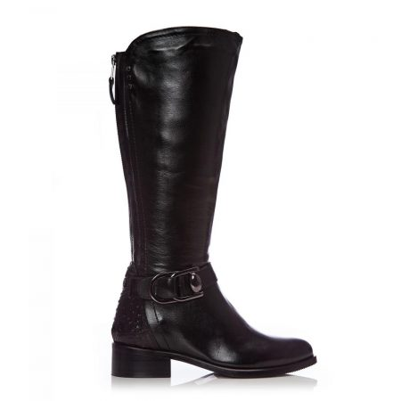 Riding And Flat Boots   Moda in Pelle Womens Talissa Black Leather Black