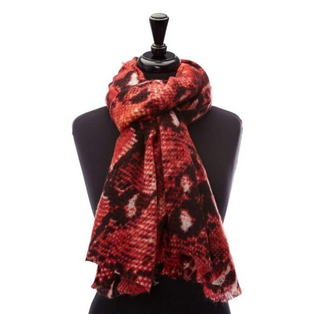 Scarves | Moda in Pelle Womens Cobrascarf Red Fabric Red