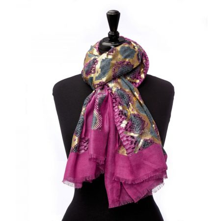 Scarves | Moda in Pelle Womens Monicoscarf Pink – Gold Fabric Pink
