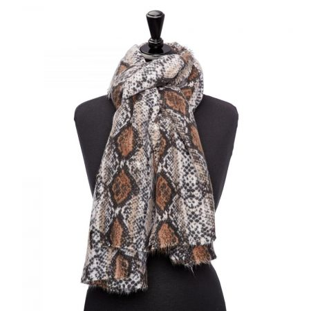 Scarves | Moda in Pelle Womens Snakesscarf Natural Snake Fabric Natural