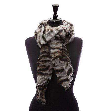 Scarves | Moda in Pelle Womens Zebrellascarf Natural Fabric Natural