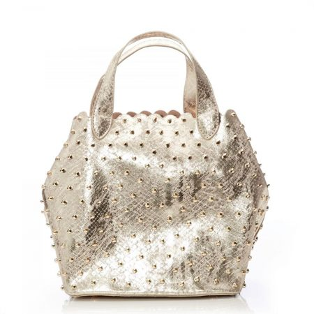 Tote Bags | Moda in Pelle Womens Isabelbag Gold Snake Print Gold