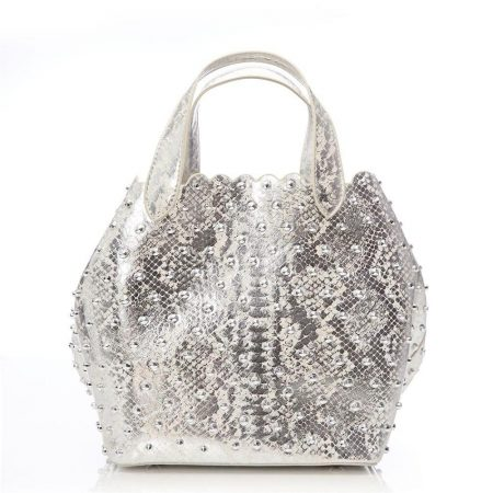 Tote Bags | Moda in Pelle Womens Isabelbag Silver Snake Print Silver