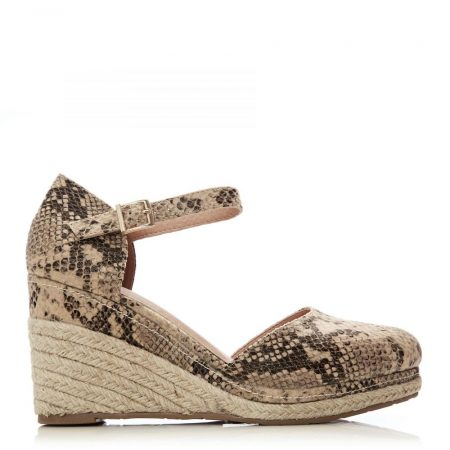 Wedge Sandals | Moda in Pelle Womens Geralli Natural Snake Porvair Natural