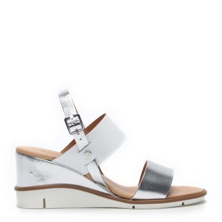 Wedge Sandals   Moda in Pelle Womens Nevva Silver Leather Silver