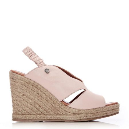 Wedge Sandals   Moda in Pelle Womens Pammila Nude Leather Nude