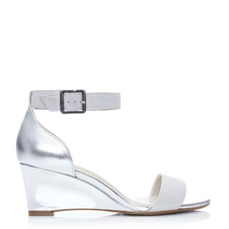 Wedge Sandals   Moda in Pelle Womens Parcia Silver Metallic Leather Silver