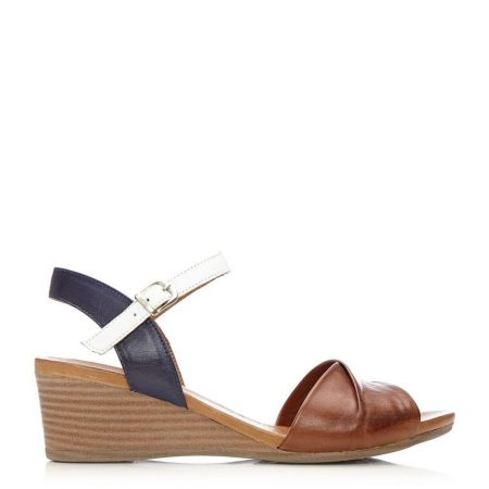 Wedge Sandals | Moda in Pelle Womens Penni Navy-Tan Leather Navy-Tan