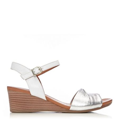 Wedge Sandals   Moda in Pelle Womens Penni White – Silver Leather White