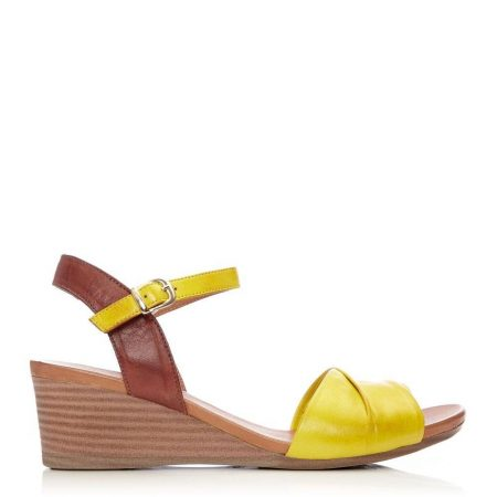Wedge Sandals   Moda in Pelle Womens Penni Yellow Leather Yellow