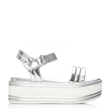 Wedge Sandals | Moda in Pelle Womens Pericia Silver Porvair Silver