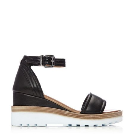 Wedge Sandals | Moda in Pelle Womens Picante Black Leather Black