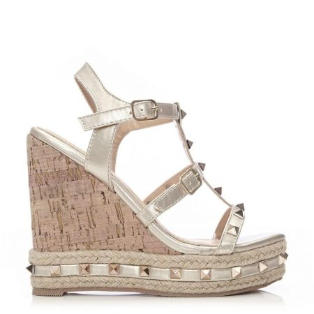 Wedge Sandals | Moda in Pelle Womens Pritinie Gold Porvair Gold