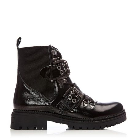 Ankle Boots | Moda in Pelle Womens Britta Black Patent Leather Black