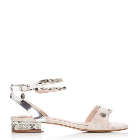 Flat Sandals | Moda in Pelle Womens Leticia Silver Porvair Silver