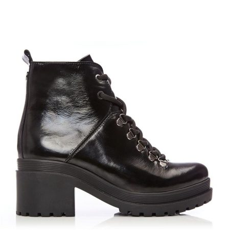 Heeled And Wedge Boots | Moda in Pelle Womens Bellon Black Patent Leather Black