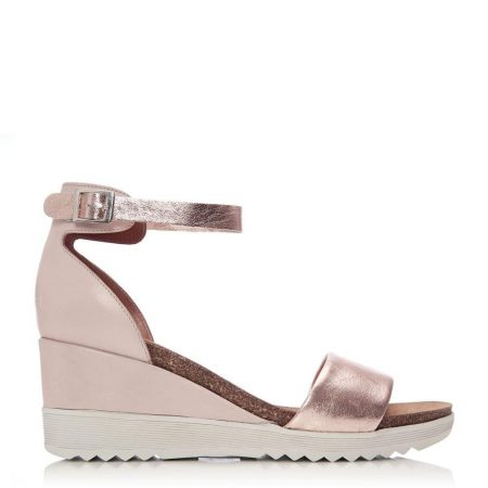 Wedge Sandals | Moda in Pelle Womens Loraynie Rose Gold Leather Rose