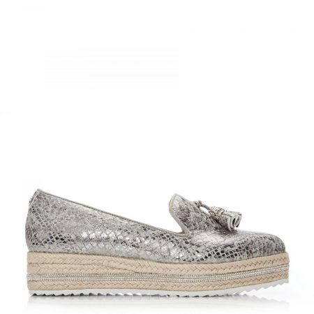 Brogues And Loafers | Moda in Pelle Womens Eada Silver Snake Print Silver