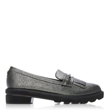 Brogues And Loafers | Moda in Pelle Womens Edeena Pewter Porvair Pewter