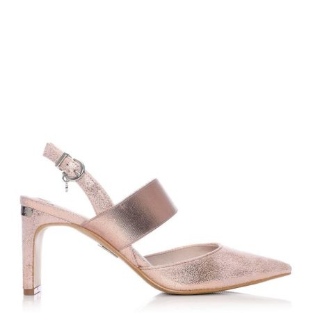 Court Shoes | Moda in Pelle Womens Classo Rose Gold Fabric Rose