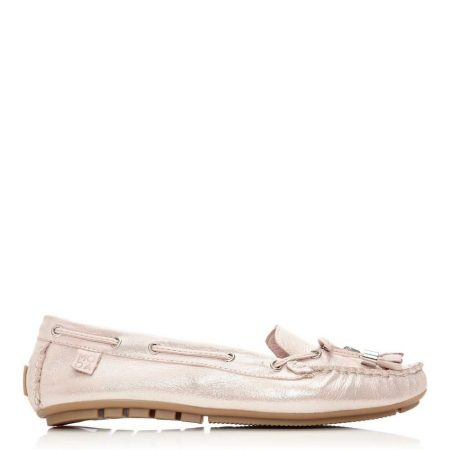 Flat And Ballerina Shoes | Moda in Pelle Womens Amusement Rose Gold Leather Rose